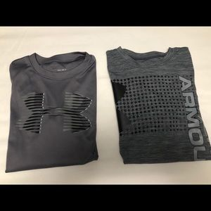 2 Under Armour Heat Gear T-shirts Youth Large Boys